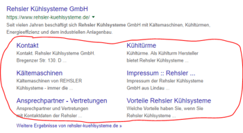 Sitelinks werden als eingerückte Kategorien unterhalb von Suchergebnissen angezeigt